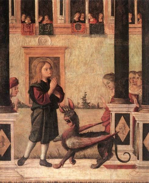 Carpaccio The Daughter of of Emperor Gordian is Exorcised by St Triphun detail1